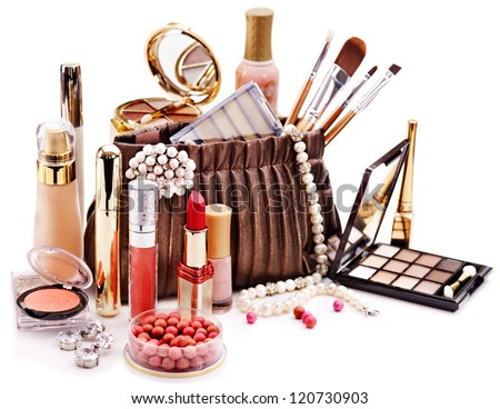 Decorative cosmetics for makeup. Close up.