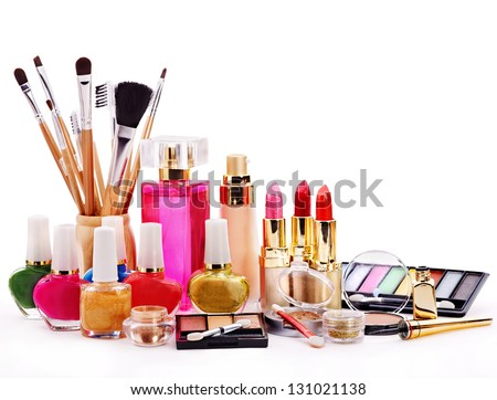 Decorative cosmetics for makeup. Close up. - stock photo