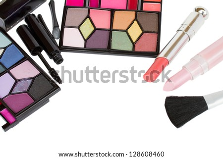 Decorative cosmetics frame isolated on white background - stock photo