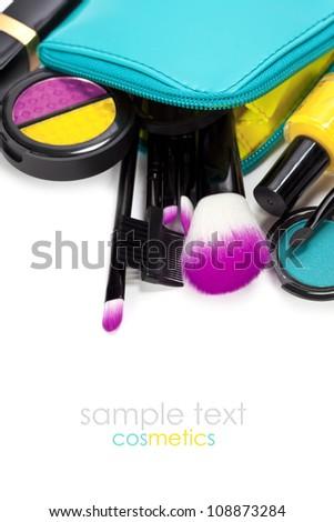 Decorative cosmetics isolated over white - stock photo
