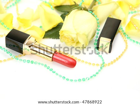 Decorative cosmetics on a white background