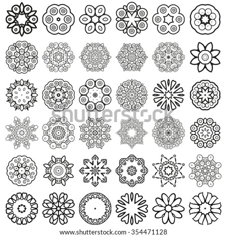 Decorative design elements. Circle ornament. Set of 36 circular patterns, florets, snowflakes, asterisks for decoration of your works. - stock photo