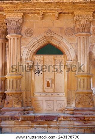 Decorative detail  of Mandir Palace in Jaisalmer, Rajasthan, India  - stock photo