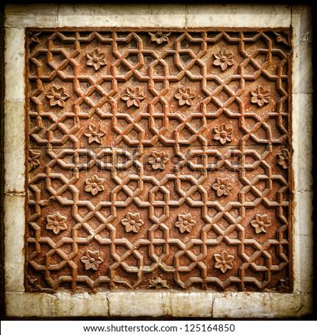Decorative detail of stone carving in Agra Fort. Agra, Uttar Pradesh, India. Asia - stock photo