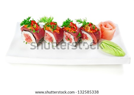 Decorative dish sushi rice salmon raw meat and spices.