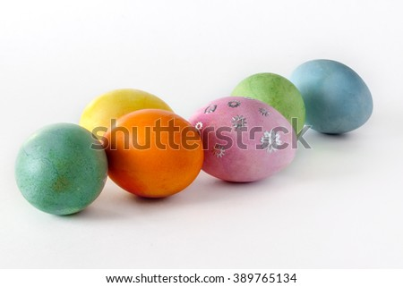 Decorative easter eggs on light background.