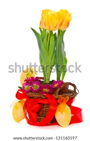 Decorative Easter eggs with flowers on a white background