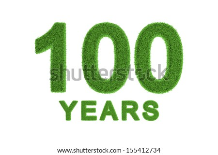 Decorative eco-friendly three-dimensional green grass numbers and text for a 100th centenary anniversary or birthday celebration, greeting card, invitation or congratulations isolated on white - stock photo