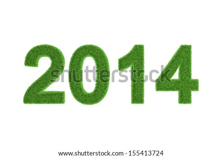 Decorative eco-friendly three-dimensional green grass numbers for the 2014 New Year and Christmas celebrations, seasonal greeting card, invitation or congratulations isolated on white - stock photo