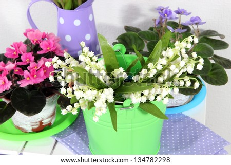 Decorative elements and flowers on table