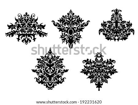 Decorative elements of damask pattern for design. Vector version also available in gallery - stock photo