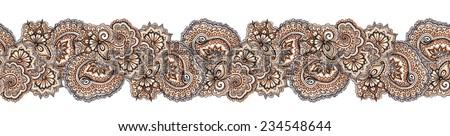 Decorative ethnic repeated border frame. Eastern ornate stripe (india) - stock photo