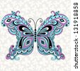 Decorative fantasy vintage butterfly with grey seamless pattern - stock photo