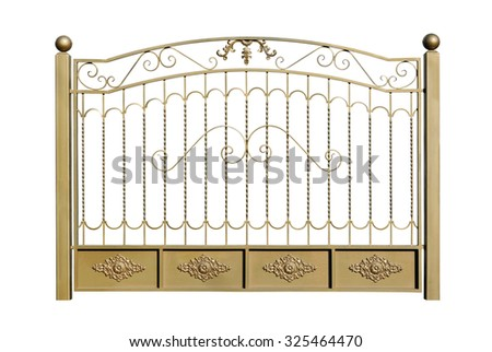 Decorative fence of steel in old  stiletto. Isolated over white background. - stock photo
