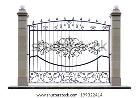 Decorative fence with pillar  in old  stiletto. Isolated over white background. - stock photo