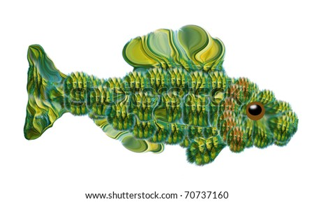Decorative fish, cartoon fish. The big wise gudgeon (yellow-bellied), Gobio or Goby, on white background, painted fish. For children and fishing website