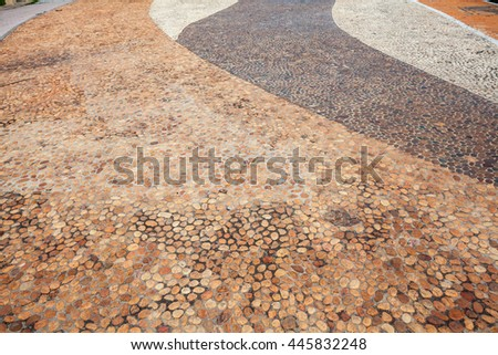 Decorative floor pattern of gravel stones, Gravel texture ,background