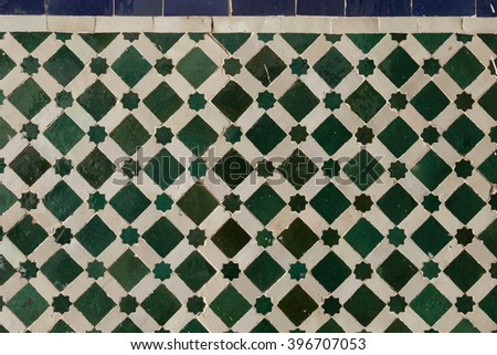 decorative floor tile in the 19th century Bahia Palace in Marrakech, Morocco