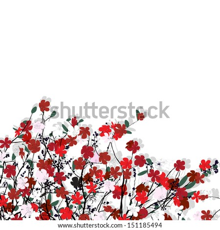 Decorative floral card with room for text, abstract art - stock photo