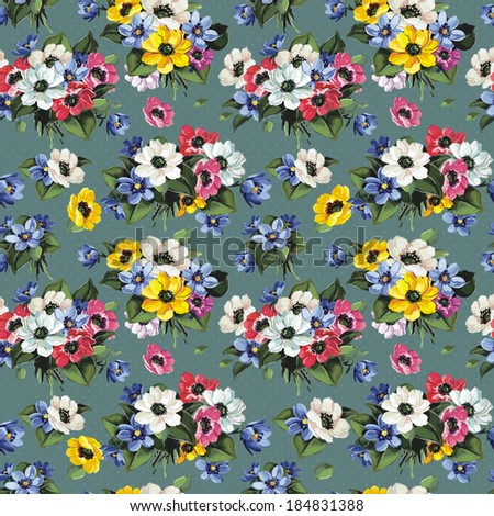 Decorative floral seamless pattern with colored Flowers blossom - stock photo