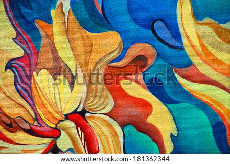 decorative flower painting by oil on canvas, illustration - stock photo
