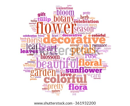 Decorative flower, word cloud concept on white background.
