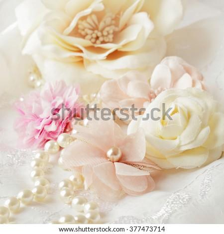decorative flowers, pastel colors - stock photo