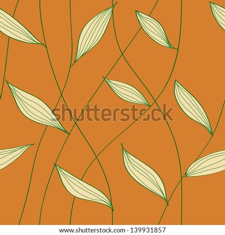 Decorative foliage pattern with crossing stems.