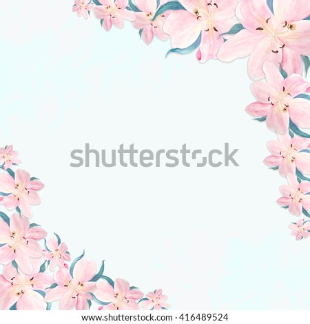Decorative frame of flowers. Design greeting cards, invitations.