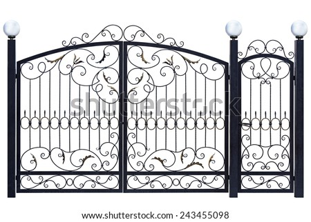 Decorative gate and door  in old  stiletto. Isolated over white background. - stock photo
