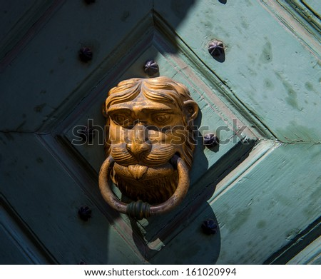 Decorative gilded lion head door knocker - stock photo