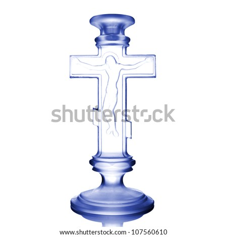 decorative glass cross isolated on white