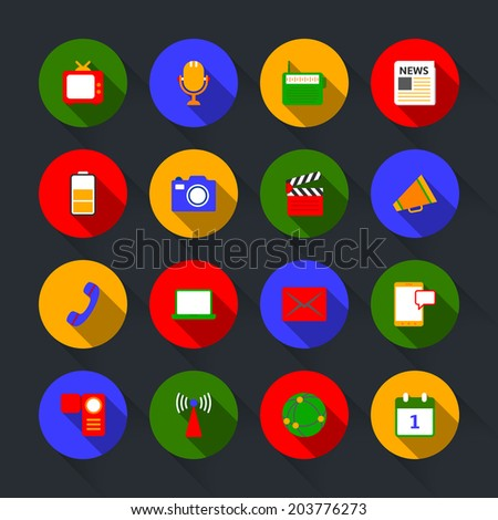 Decorative global social media communication mobile technology microphone device icons set flat solid isolated  illustration