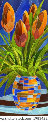 Decorative gouache painting. Abstract terracotta flowers in a vase with geometric pattern on a dark blue backdrop