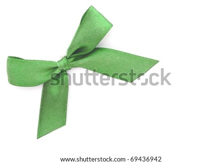 decorative green bow isolated on white background