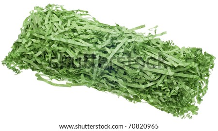 Decorative Green Easter Grass Ready to Place in Basket.  Isolated on White in a Clipping Path. - stock photo