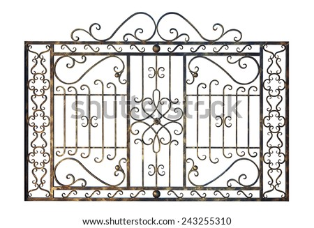 Decorative grid  in old  stiletto. Isolated over white background. - stock photo