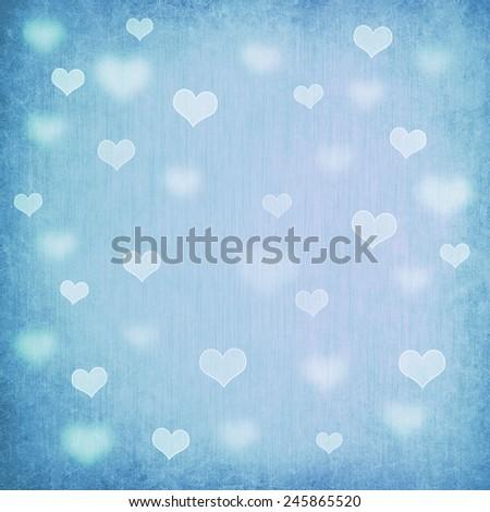 Decorative grunge valentine background with hearts - stock photo