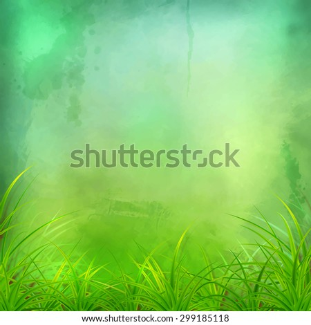 Decorative grunge watercolor background with grass and expressive painting texture