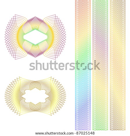 Decorative guilloche rosette and borders on a white background. EPS version is available as ID 85927744. - stock photo