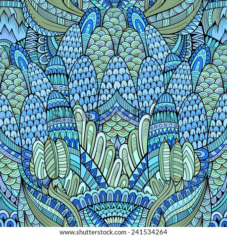 Decorative hand drawn abstract seamless pattern - stock photo