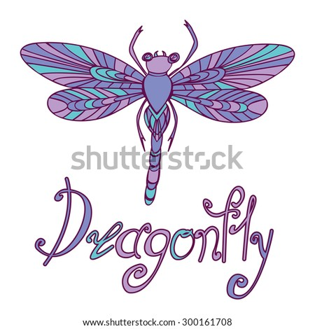Decorative hand drawn Doodle Dragonfly in violet colors, raster copy of illustration - stock photo