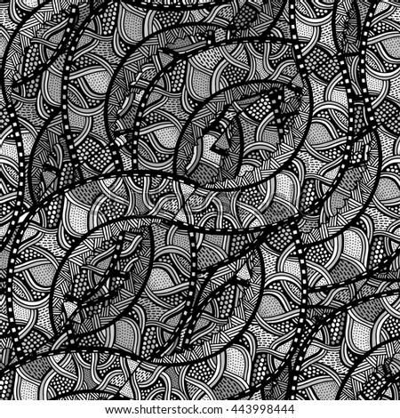 Decorative hand drawn doodle nature ornamental curl Art sketchy seamless pattern - stock photo