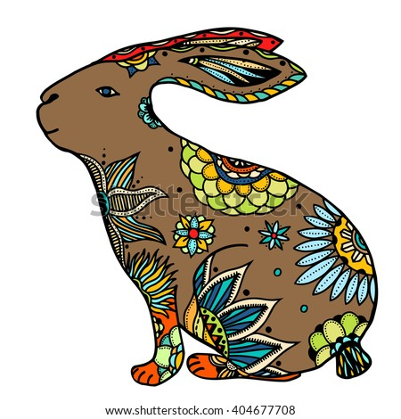 Decorative hand drawn doodle rabbit illustration. Ornate white hare drawing