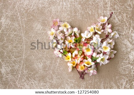 Decorative heart from spring flowers/ Valentines day background/ Spring,easter card - stock photo