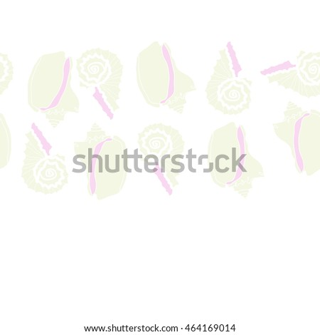 Decorative horizontal seamless sea pattern,  spirals,  spots,shells, doodles,copy space . Hand drawn.