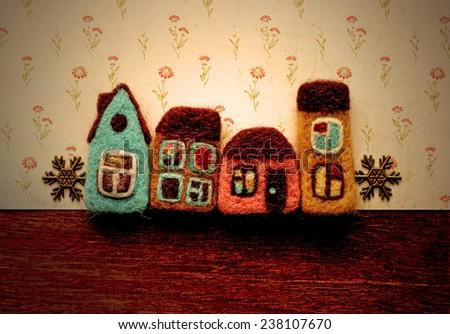decorative houses, background - stock photo