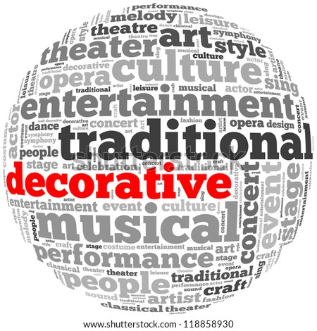 decorative info-text graphics and arrangement concept on white background (word cloud)