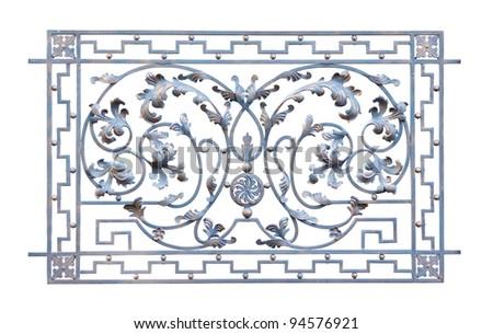 Decorative iron fence section isolated on white - stock photo