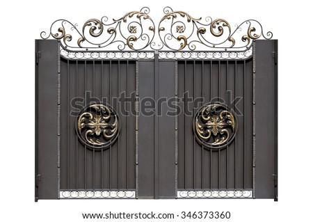 Decorative iron gate. Isolated over white background. - stock photo